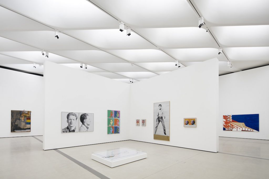 Installation of works by Robert Rauschenberg, Andy Warhol and Ed Ruscha. Photo by Bruce Damonte, courtesy of The Broad and Diller Scofidio + Renfro